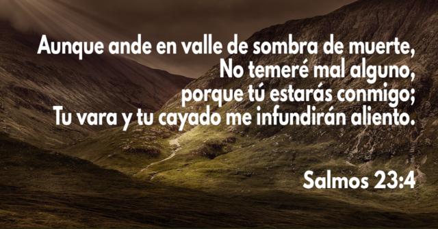 Aunque ande en valle de sombra de muerte, No temeré mal alguno, porque tú estarás conmigo; Tu vara y tu cayado me infundirán aliento