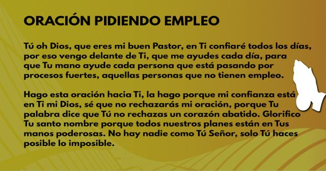 Oración pidiendo empleo
