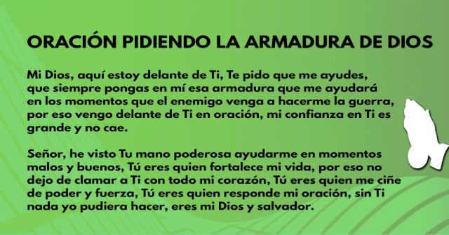 Oración pidiendo la armadura de Dios