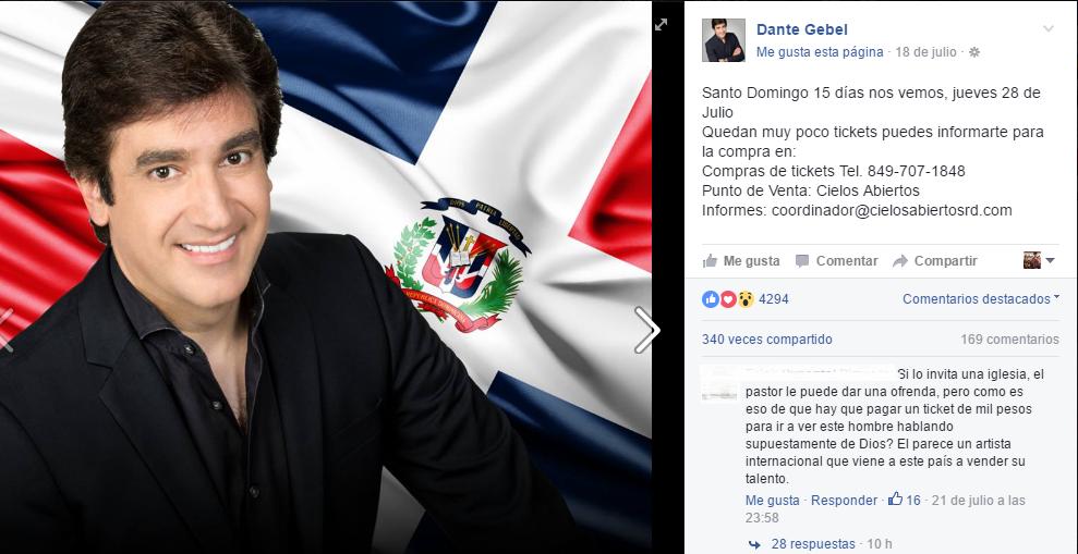 Gran rechazo a actividad de Dante Gebel en República Dominicana
