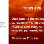 95 tesis para la iglesia evangélica de hoy – Tesis número 28