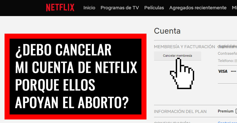 Debo cancelar mi cuenta de Netflix porque ellos apoyan el aborto