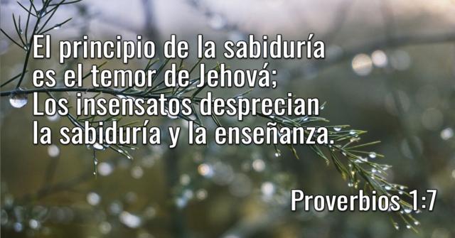 El principio de la sabiduría es el temor de Jehová; Los insensatos desprecian la sabiduría y la enseñanza