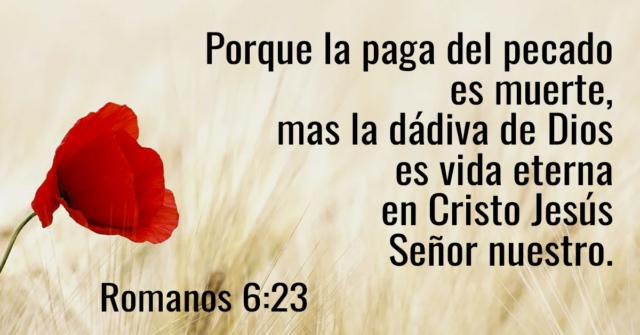 Porque la paga del pecado es muerte, mas la dádiva de Dios es vida eterna en Cristo Jesús Señor nuestro