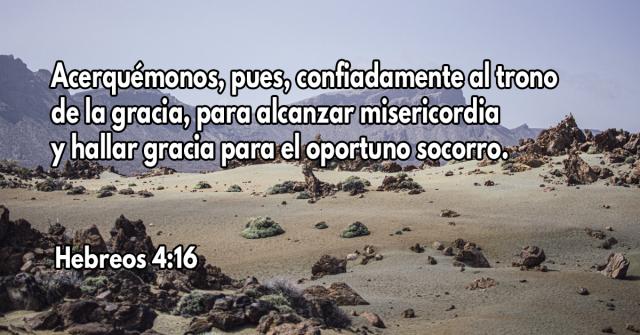 Acerquémonos, pues, confiadamente al trono de la gracia, para alcanzar misericordia y hallar gracia para el oportuno socorro