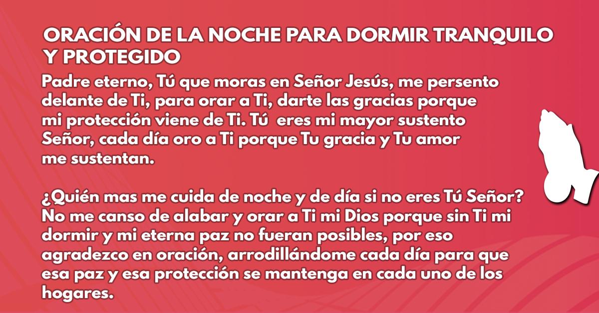 Oración de la noche para dormir tranquilo y protegido